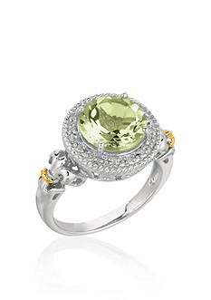 Phillip Gavriel® Sterling Silver with 18k Yellow Gold Green Amethyst and Diamond Ring