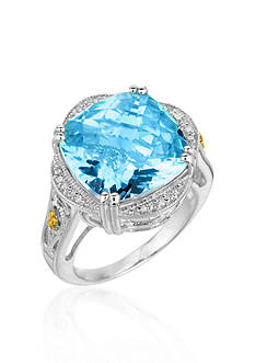 Phillip Gavriel® Sterling Silver with 18k Yellow Gold Blue Topaz Diamond Ring