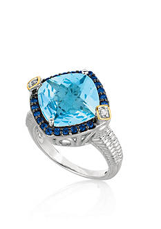 Phillip Gavriel® Sterling Silver with 18k Yellow Gold Blue Topaz, Iolite, and Diamond Ring