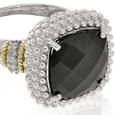 Black Diamond Rings: Black Onyx Phillip Gavriel® Sterling Silver with 18k Yellow Gold Onyx and Diamond Ring