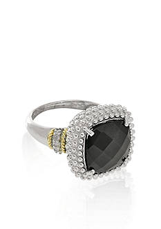 Phillip Gavriel® Sterling Silver with 18k Yellow Gold Onyx and Diamond Ring