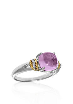 Phillip Gavriel® Sterling Silver with 18k Yellow Gold Pink Amethyst Diamond Ring