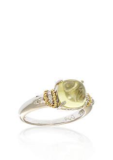 Phillip Gavriel® Sterling Silver 18k Yellow Gold Lemon Quartz and Diamond Ring