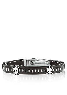 Belk & Co. Stainless Steel with Black Leather Skull Bracelet