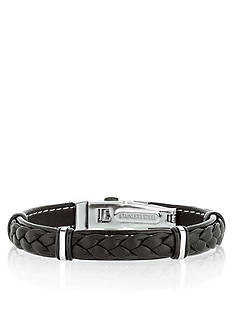 Belk & Co. Stainless Steel with Black Leather Bracelet