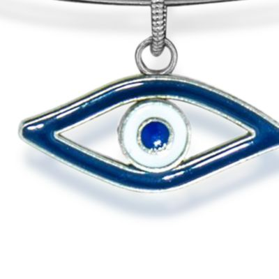 Charm Bracelets: Silver-Tone Angelica Evil Eye Expandable Bangle