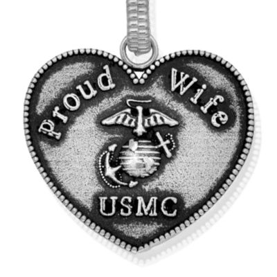 Charm Bracelets: Silver-Tone Angelica USMC Proud Wife Expandable Bangle