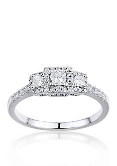 Belk & Co. 1/2 ct. t.w. 3 Stone Diamond Ring in 14k White Gold