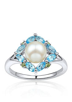 Belk & Co. Freshwater Pearl, Blue Topaz, and Peridot Ring in Sterling Silver