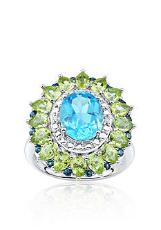 Belk & Co. Blue Topaz with Peridot and Diamond Halo Ring in Sterling Silver
