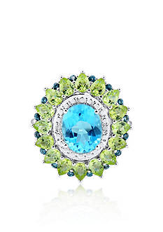 Belk & Co. Blue Topaz Oval Peridot Diamond Halo Ring in Sterling Silver