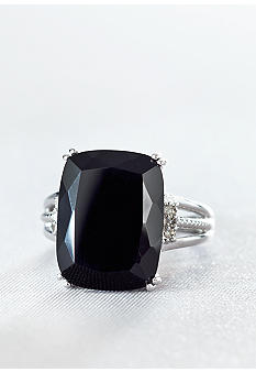 Belk & Co. Sterling Silver Onyx & Diamond Ring