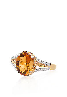 Belk & Co. 10k Yellow Gold Citrine and Diamond Ring <br>
