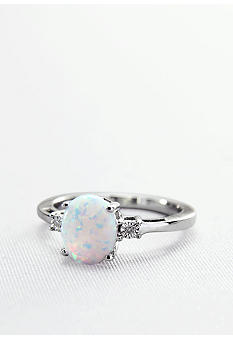 Belk & Co. Sterling Silver Lab Created Opal and Diamond Ring