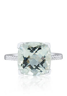 Belk & Co. Green Cushion Amethyst & Diamond Ring set in Sterling Silver