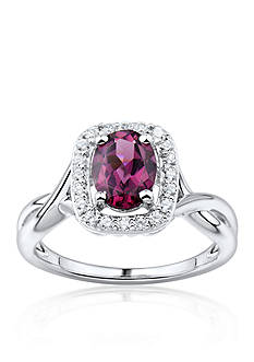Belk & Co. Rhodolite Garnet and Diamond Ring in Sterling Silver