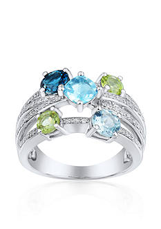 Belk & Co. Sterling Silver Blue Topaz, Peridot, and Diamond Crossover Band