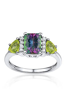 Belk & Co. Mystic Fire Topaz, Peridot, and Diamond Ring in Sterling Silver