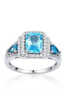Belk & Co. Sterling Silver Multi Blue Topaz and Diamond Ring