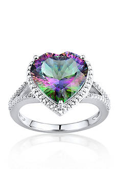 Belk & Co. Sterling Silver Mystic Fire Topaz and Diamond Heart Ring