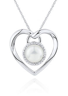 Belk & Co. Fresh Water Pearl and Diamond Accent Heart Pendant in Sterling Silver