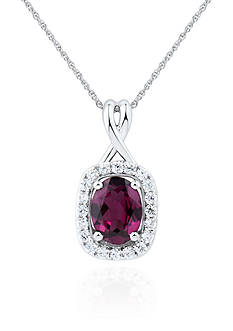 Belk & Co. Rhodolite Garnet and Diamond Pendant in Sterling Silver
