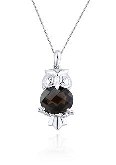 Belk & Co. Sterling Silver Smokey Quartz Owl Pendant