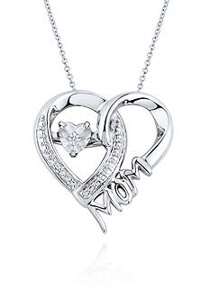 Move My Heart Moving Diamond Mom Heart Pendant set in Sterling Silver