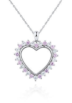 Belk & Co. Pink and White Cubic Zirconia Heart Pendant in Platinum Plated Sterling Silver