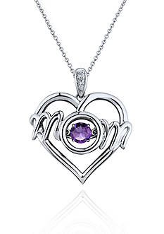 Move My Heart Sterling Silver Moving Amethyst and Diamond Mom Heart Pendant