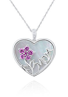 Belk & Co. Mother of Pearl with Pink Topaz & Diamond MOM Heart Pendant Set in Sterling Silver