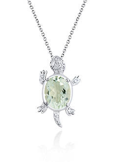 Belk & Co. Sterling Silver Green Amethyst and Diamond Turtle Pendant