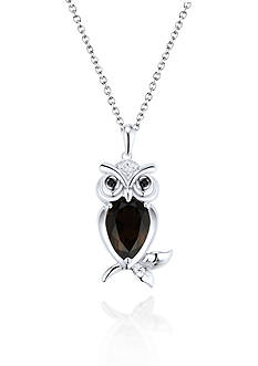 Belk & Co. Sterling Silver Smokey Quartz and Diamond Owl Pendant
