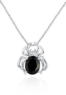 Belk & Co. Sterling Silver Onyx and Diamond Spider Pendant
