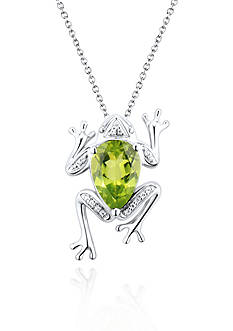 Belk & Co. Sterling Silver Peridot and Diamond Frog Pendant