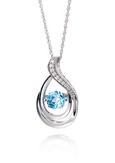 Move My Heart Sterling Silver Swiss Blue Topaz and Diamond Pendant