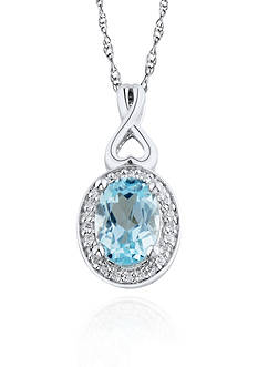 Belk & Co. Sterling Silver Light Blue Topaz and Diamond Pendant