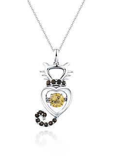 Move My Heart Sterling Silver Moving Citrine and Smokey Quartz Cat Pendant