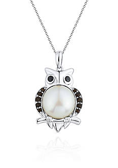 Belk & Co. Sterling Silver Freshwater Pearl, Smokey Quartz, and Onyx Owl Pendant