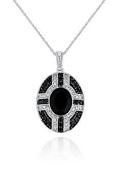 Belk & Co. Onyx and Diamond Pendant in Sterling Silver