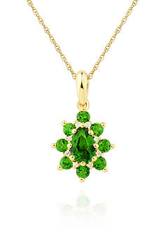 Belk & Co. Chrome Diopside with Diamond Pendant set in 10K Yellow Gold
