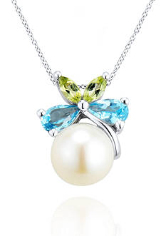 Belk & Co. Fresh Water Pearl with Blue Topaz and Peridot Bow Pendant set in Sterling Silver
