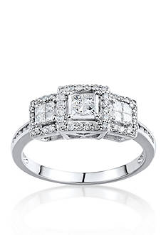 Belk & Co. 1/2 ct. t.w. 3 Stone Diamond Cluster Ring in 10k White Gold