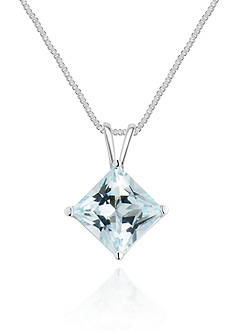Belk & Co. 14k White Gold Aquamarine Solitaire Pendant