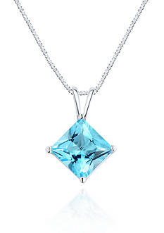 Belk & Co. 14k White Gold Swiss Blue Topaz Solitaire Pendant