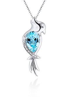 Belk & Co. Sterling Silver Sky Blue Topaz and Diamond Parrot Pendant