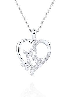 Belk & Co. 1/10 ct.t.w. Diamond Heart Flower Pendant in Sterling Silver