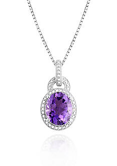 Belk & Co. Sterling Silver Amethyst and Diamond Pendant