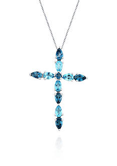 Belk & Co. Sterling Silver London and Sky Blue Topaz Cross Pendant
