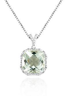 Belk & Co. Sterling Silver Green Amethyst and Diamond Pendant